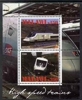 Malawi 2009 High Speed Trains #2 perf sheetlet containing 2 values (AVE S-102 and X2000) unmounted mint