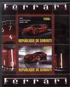 Djibouti 2009 Ferrari Cars #1 perf sheetlet containing 2 values (Spider 16M & 599 GTB) unmounted mint