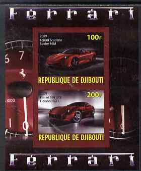 Djibouti 2009 Ferrari Cars #1 imperf sheetlet containing 2 values (Spider 16M & 599 GTB) unmounted mint