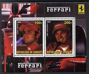 Djibouti 2009 Ferrari F1 Drivers perf sheetlet containing 2 values (Massa & Raikkonen) unmounted mint