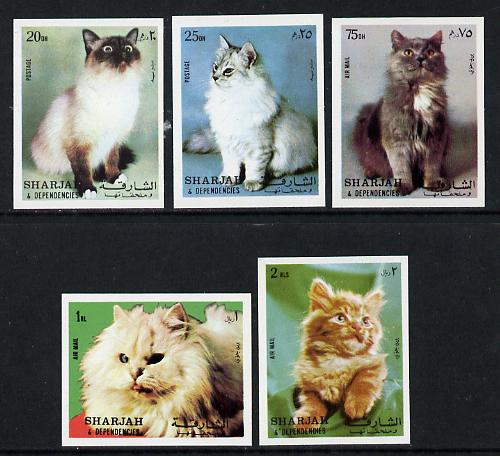 Sharjah 1972 Cats imperf set of 5 unmounted mint (Mi 1030-34B)