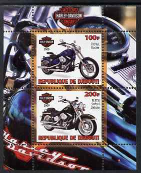 Djibouti 2009 Harley Davidson Motorcycles #1 perf sheetlet containing 2 values unmounted mint