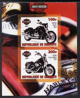 Djibouti 2009 Harley Davidson Motorcycles #2 imperf sheetlet containing 2 values unmounted mint