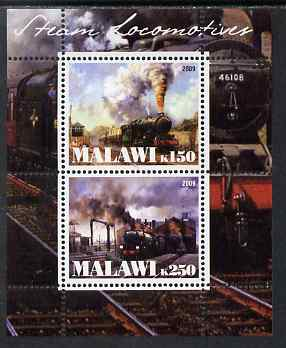Malawi 2009 Steam Locomotives #1 perf sheetlet containing 2 values unmounted mint