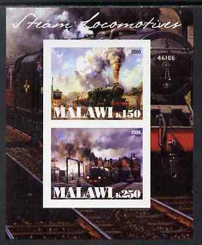 Malawi 2009 Steam Locomotives #1 imperf sheetlet containing 2 values unmounted mint