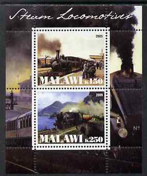 Malawi 2009 Steam Locomotives #2 perf sheetlet containing 2 values unmounted mint
