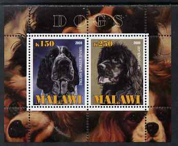 Malawi 2009 Dogs #1 perf sheetlet containing 2 values (English Springer Spaniel & Newfoundland) unmounted mint