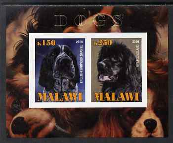 Malawi 2009 Dogs #1 imperf sheetlet containing 2 values (English Springer Spaniel & Newfoundland) unmounted mint