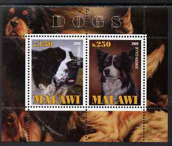Malawi 2009 Dogs #2 perf sheetlet containing 2 values (St Bernard & Border Collie) unmounted mint
