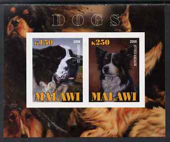 Malawi 2009 Dogs #2 imperf sheetlet containing 2 values (St Bernard & Border Collie) unmounted mint