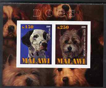 Malawi 2009 Dogs #3 imperf sheetlet containing 2 values (Dalmation & West Highland Terrier) unmounted mint