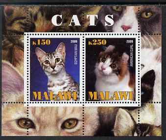 Malawi 2009 Cats #1 perf sheetlet containing 2 values (Egyptian Mau & American Curl) unmounted mint