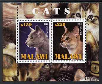 Malawi 2009 Cats #2 perf sheetlet containing 2 values (Russian Blue & Singapore) unmounted mint