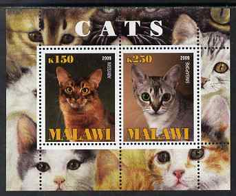 Malawi 2009 Cats #3 perf sheetlet containing 2 values (Abyssin & Singapore) unmounted mint