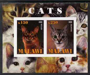 Malawi 2009 Cats #3 imperf sheetlet containing 2 values (Abyssin & Singapore) unmounted mint