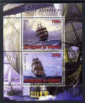 Djibouti 2009 Tall Ships #1 perf sheetlet containing 2 values (Young America & Leander) unmounted mint