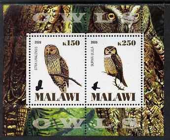 Malawi 2009 Owls #1 perf sheetlet containing 2 values unmounted mint