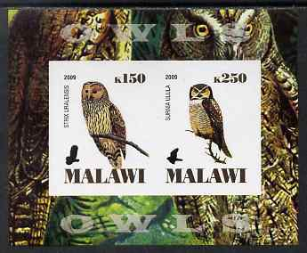 Malawi 2009 Owls #1 imperf sheetlet containing 2 values unmounted mint