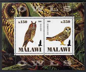 Malawi 2009 Owls #2 perf sheetlet containing 2 values unmounted mint