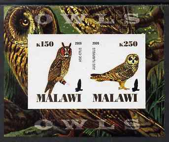 Malawi 2009 Owls #2 imperf sheetlet containing 2 values unmounted mint