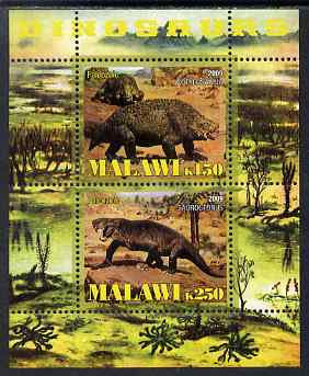 Malawi 2009 Dinosaurs perf sheetlet containing 2 values unmounted mint