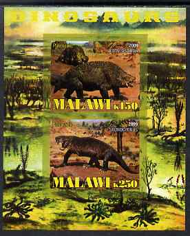 Malawi 2009 Dinosaurs imperf sheetlet containing 2 values unmounted mint