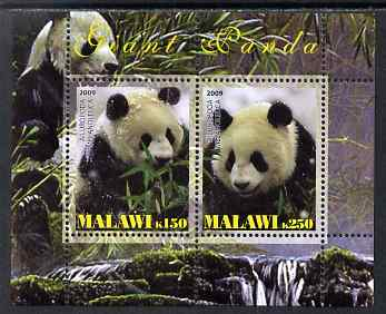 Malawi 2009 Giant Pandas perf sheetlet containing 2 values unmounted mint