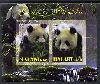 Malawi 2009 Giant Pandas imperf sheetlet containing 2 values unmounted mint
