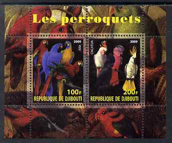 Djibouti 2009 Parrots perf sheetlet containing 2 values unmounted mint