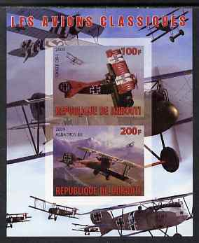 Djibouti 2009 Classic Aircraft imperf sheetlet containing 2 values (Fokker DR-1 & Albatros) unmounted mint