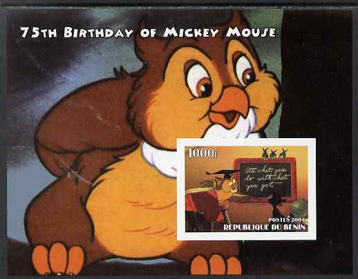 Benin 2004 75th Birthday of Mickey Mouse - Wise Old Owl imperf m/sheet unmounted mint