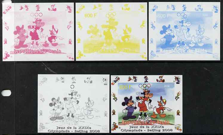 Benin 2008 Disney Characters playing Baseball #03 individual deluxe sheet with Olympic Rings - the set of 5 imperf progressive proofs comprising the 4 individual colours plus all 4-colour composite, unmounted mint