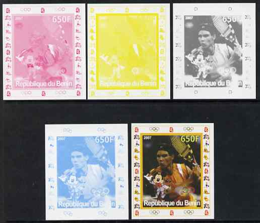 Benin 2007 Tennis #07 - Rafael Nadal individual deluxe sheet with Olympic Rings & Disney Character - the set of 5 imperf progressive proofs comprising the 4 individual colours plus all 4-colour composite, unmounted mint