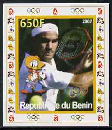 Benin 2007 Tennis #08 - Roger Federer individual imperf deluxe sheet with Olympic Rings & Disney Character unmounted mint