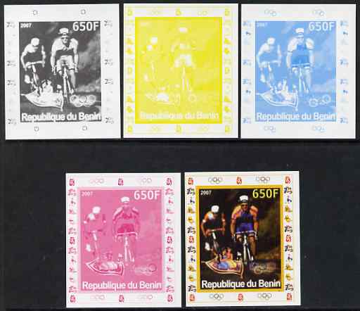 Benin 2007 Cycling #2 - individual deluxe sheet with Olympic Rings & Disney Character - the set of 5 imperf progressive proofs comprising the 4 individual colours plus all 4-colour composite, unmounted mint