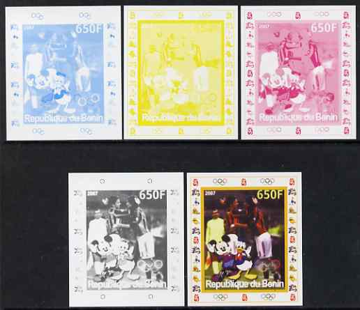 Benin 2007 Football #1 - individual deluxe sheet with Olympic Rings & Disney Character - the set of 5 imperf progressive proofs comprising the 4 individual colours plus all 4-colour composite, unmounted mint