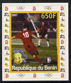 Benin 2007 Football #2 - individual imperf deluxe sheet with Olympic Rings & Disney Character unmounted mint. Note this item is privately produced and is offered purely on its thematic appeal