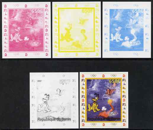 Benin 2007 Water Polo #1 - individual deluxe sheet with Olympic Rings & Disney Character - the set of 5 imperf progressive proofs comprising the 4 individual colours plus all 4-colour composite, unmounted mint