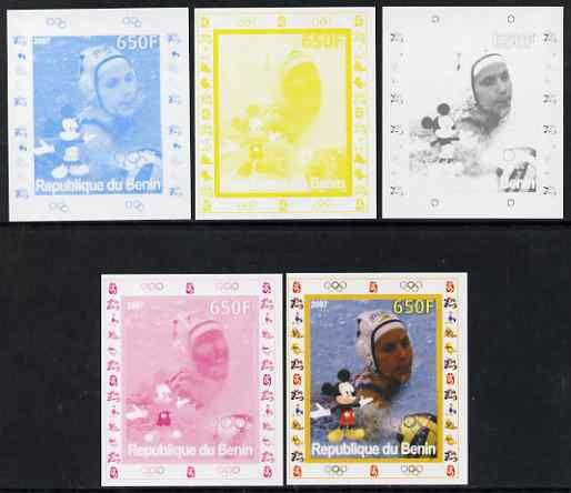 Benin 2007 Water Polo #2 - individual deluxe sheet with Olympic Rings & Disney Character - the set of 5 imperf progressive proofs comprising the 4 individual colours plus all 4-colour composite, unmounted mint , stamps on sport, stamps on olympics, stamps on water polo, stamps on disney