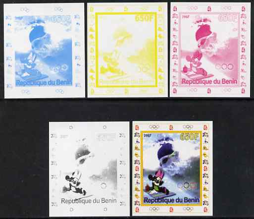 Benin 2007 Swimming #1 - individual deluxe sheet with Olympic Rings & Disney Character - the set of 5 imperf progressive proofs comprising the 4 individual colours plus all 4-colour composite, unmounted mint