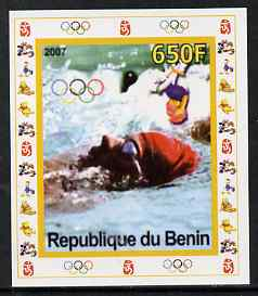 Benin 2007 Swimming #2 - individual imperf deluxe sheet with Olympic Rings & Disney Character unmounted mint. Note this item is privately produced and is offered purely on its thematic appeal