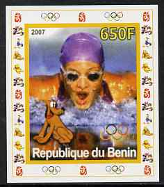 Benin 2007 Swimming #3 - individual imperf deluxe sheet with Olympic Rings & Disney Character unmounted mint. Note this item is privately produced and is offered purely on its thematic appeal