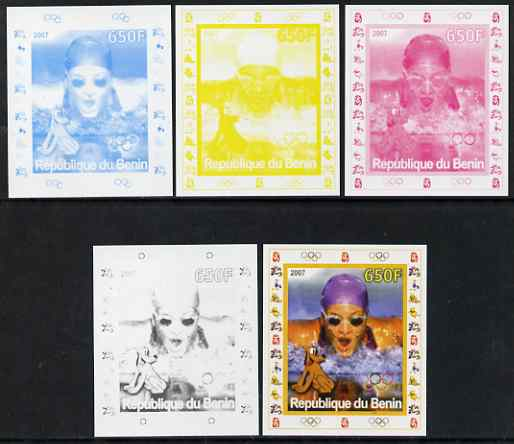 Benin 2007 Swimming #3 - individual deluxe sheet with Olympic Rings & Disney Character - the set of 5 imperf progressive proofs comprising the 4 individual colours plus all 4-colour composite, unmounted mint