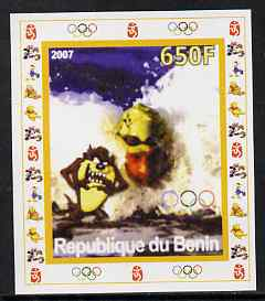 Benin 2007 Swimming #4 - individual imperf deluxe sheet with Olympic Rings & Disney Character unmounted mint. Note this item is privately produced and is offered purely on its thematic appeal
