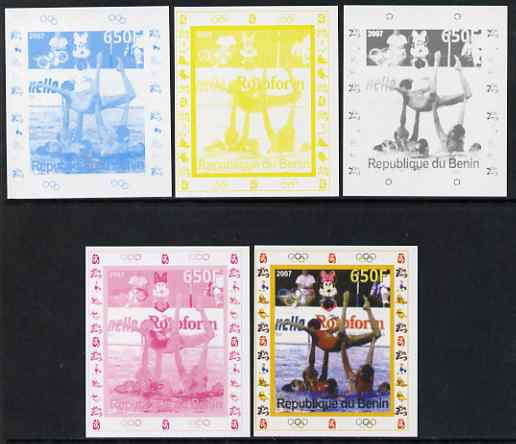 Benin 2007 Synch Swimming - individual deluxe sheet with Olympic Rings & Disney Character - the set of 5 imperf progressive proofs comprising the 4 individual colours plus all 4-colour composite, unmounted mint