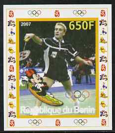 Benin 2007 Badminton - individual imperf deluxe sheet with Olympic Rings & Disney Character unmounted mint. Note this item is privately produced and is offered purely on ...