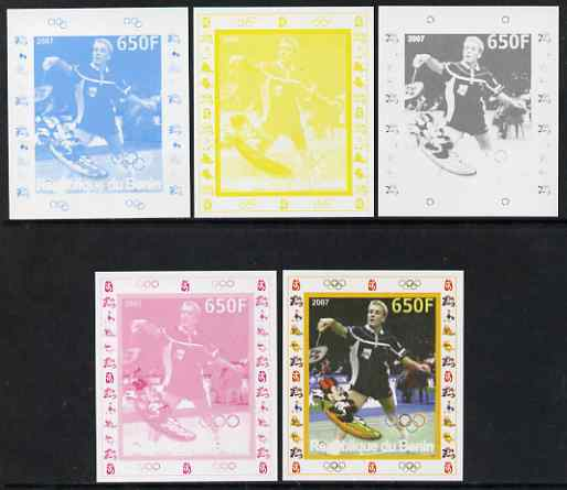 Benin 2007 Badminton - individual deluxe sheet with Olympic Rings & Disney Character - the set of 5 imperf progressive proofs comprising the 4 individual colours plus all...
