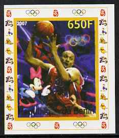 Benin 2007 Basketball - individual imperf deluxe sheet with Olympic Rings & Disney Character unmounted mint. Note this item is privately produced and is offered purely on its thematic appeal