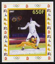 Benin 2007 Fencing - individual imperf deluxe sheet with Olympic Rings & Disney Character unmounted mint. Note this item is privately produced and is offered purely on its thematic appeal