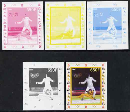 Benin 2007 Fencing - individual deluxe sheet with Olympic Rings & Disney Character - the set of 5 imperf progressive proofs comprising the 4 individual colours plus all 4...